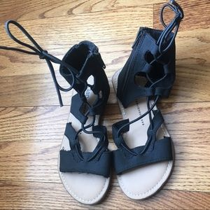 Girls Gap Gladiator zip lace up sandals